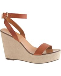 J.Crew Vachetta Leather Canvas Wedges - Lyst