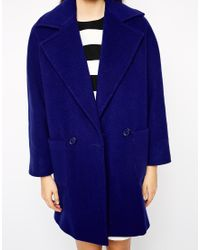 Helene Berman Two Button Cozy Coat blue - Lyst