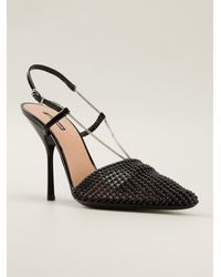 Giorgio Armani Embellished Pointed Toe Sandals - Lyst
