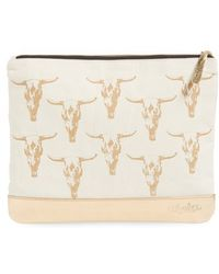 Alola - Skull Print Canvas & Leather Clutch - Lyst