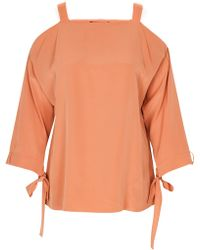 Tibi Silk Tie Detail Top orange - Lyst