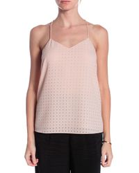 Tibi Windowpane Cut Out Cami beige - Lyst
