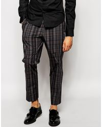 Asos Slim Fit Smart Trousers In Check - Lyst