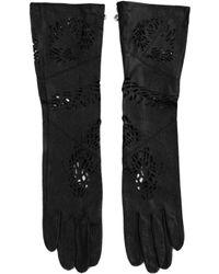 Ca2 Black Leather 4 Finger Gloves - Lyst