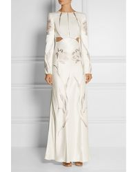 Alexander McQueen Embroidered Satintwill Gown - Lyst