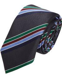 Barneys New York Textured Diagonal Stripe Tie gray - Lyst