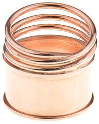 Aamaya By Priyanka - Rose Gold-Plated Spring Multi Ring - Lyst