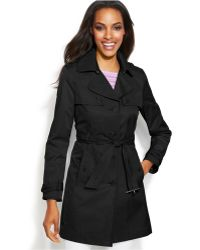 Inc International Concepts Faux-Leather-Trim Belted Trench Coat - Lyst