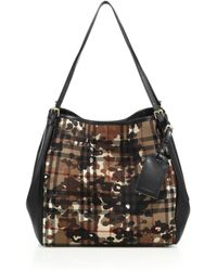 Burberry | Canter Small Camouflage Check Textile & Leather Tote | Lyst