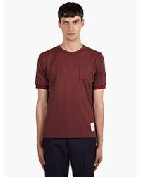 Thom Browne Mens Burgundy Oxford Pique Tshirt - Lyst