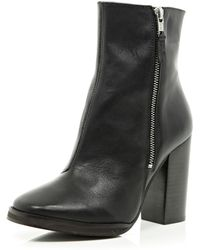 River Island Black Square Toe Block Heel Boots - Lyst
