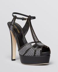 Sergio Rossi Open Toe T Strap Platform Sandals - Puzzle High Heel - Lyst