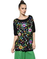 Antonio Marras Floral Embroidered Cotton Sweater - Lyst