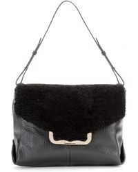 See By Chloé Leather Shoulder Bag with Shearling - Lyst