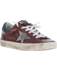 Golden Goose Deluxe Brand Distressed Metallic Superstar Sneakers - Lyst