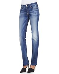 7 For All Mankind Kimmie Super Grinded Blue Straight Leg Faded Jeans - Lyst