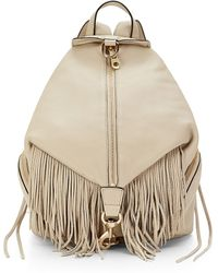 Rebecca Minkoff Julian Backpack With Fringe beige - Lyst