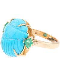Silvia Furmanovich | Tsavorite And Turquoise Yellow-gold Ring | Lyst