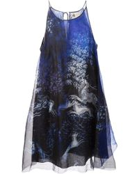 Lanvin Deer Print Sheer Dress - Lyst