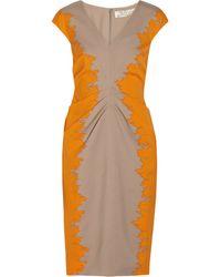 Lela Rose Gathered Printed Wool and Silk-blend Dress - Lyst