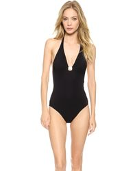 Tory Burch Logo One Piece Swimsuit Poppy Red - Lyst