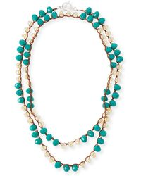 An Old Soul - Long Crocheted Teal Crystal Necklace - Lyst