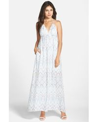 BCBGMAXAZRIA 'Kamala' Print Crepe De Chine Halter Maxi Dress - Lyst