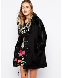 Lazy Oaf - Blackintosh Hooded Parka Jacket With Contrast Sleeves - Lyst