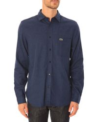 Lacoste Flannel Blue Marl Shirt - Lyst