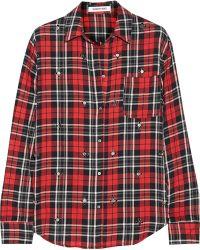 Elizabeth And James Carine Embellished Plaid Cotton-Blend Shirt - Lyst