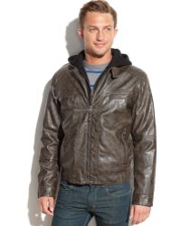 Calvin Klein Hooded Faux Leather Moto Jacket - Lyst