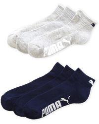 puma quarter socks. puma | 6-pack contrast color logo quarter crew socks lyst puma