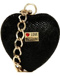 Love Moschino Heart Clutch with Bracelet Chain Strap in Black - Lyst