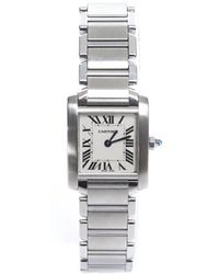 Cartier Pre-Owned Tank Francaise Stainless 25Mm Watch - Lyst