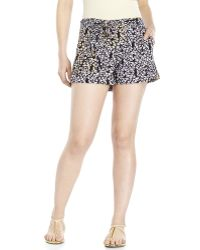 Jessica Simpson Black Floral Tie-Front Shorts - Lyst