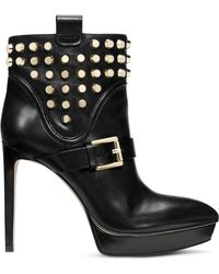 Michael Kors Bryn Studded Leather Ankler Boot - Lyst