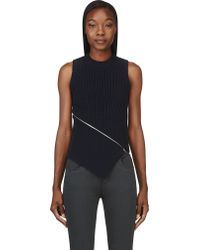 Alexander Wang Navy Ribbed and Zipped Peel Away Tank - Lyst