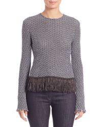 Derek Lam | Crochet Tweed Fringe-trim Top | Lyst