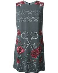 Dolce & Gabbana Keys Floral Print Dress - Lyst