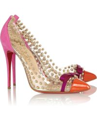 Christian Louboutin Bille Et Boule 100 Studded Pvc and Suede Pumps - Lyst