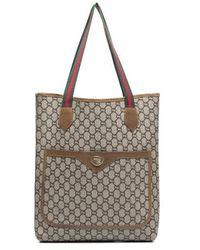 Gucci Preowned Beige Monogram Canvas Vintage Tote Bag - Lyst