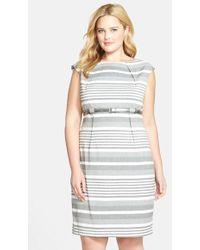 Calvin Klein Belted Stripe High Waist Sheath Dress - Lyst