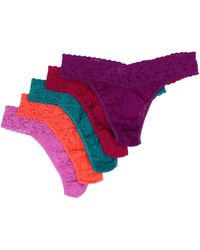 Hanky Panky Signature Lace Original Rise Thong 5pack - Lyst