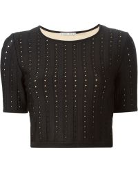Alice + Olivia Cropped Perforated T-Shirt - Lyst