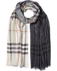 Burberry Silk-Wool Check Scarf - Lyst