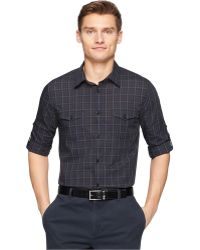 Calvin Klein Plaid Shirt black - Lyst