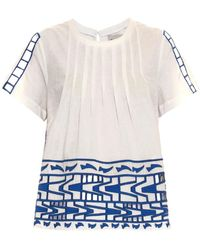 Sea Embroidered Cotton-Voile Top - Lyst