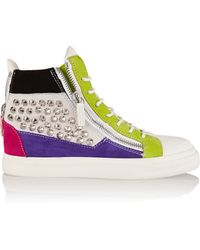 Giuseppe Zanotti Studded Suede And Leather Wedge Sneakers - Lyst