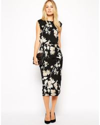 Asos Pencil Dress In Bird And Floral Print - Lyst