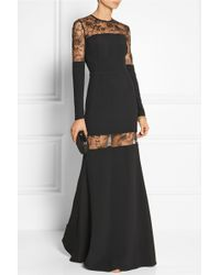 Elie Saab Lace-paneled Stretch-crepe Gown - Lyst